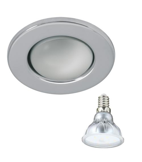 Spot encastrable Chrome Rond E14 IP20 4,2W Blanc Chaud ampoule fournie Xanlite